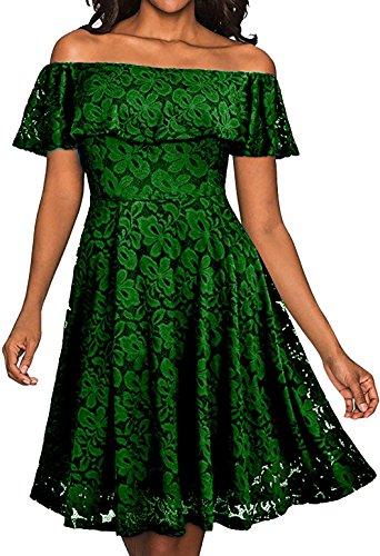 Damen Swing Kleider Off Schulter Vintage 50s Retro Rockabilly ...