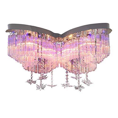 BJZP Modern Deckenleuchte Kristall Anhänger Kinderlampe Dimmbar Prinzessin Mädchen Kinderzimmer Warm Romantische Hochzeit Zimmer Schlafzimmer Schmetterling Deckenlampe φ60cm,80cm*60cm - Glühlampen Der Flut