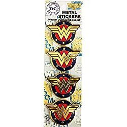 "Dc Comics Licensed Heavy Duty Embossed Metal Stickers 4/Pkg-Colored Wonder Woman Shield 1.125""X1.5"""