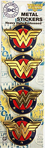 C&D Visionary DC Comics Licensed Heavy Duty Embossed Metal Stickers 4/pkg-Colored Wonder Woman