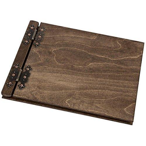 Fotoalbum aus Holz mit 25 schwarze 300g Karton Innenseiten neutrales design