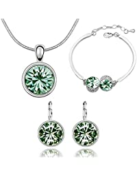 Nakabh Ocean Green Attractive Crystal Combo Jewellery Heart Shaped Of Pendant Necklace Set With Earrings & Bracelet...