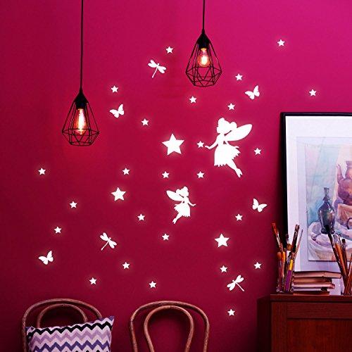 ilka parey wandtattoo-welt® Wandtattoo Elfen Feen & Sterne Wandsticker Wandaufkleber fluoreszierend Leuchtsticker Set 42 Stück M2205