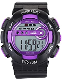 YAZILIND unisexe Sports Watch multifonction Led lumière numérique étanche montre-bracelet (violet)
