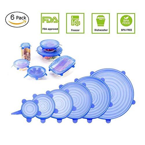 Adomor Silikondeckel, 6-Pack in verschiedenen Größen Dehnbare Silikon-Stretch-Deckel für Schüssel, Dose, Glas, Glaswaren, Food Saver Covers Sicher in der Spülmaschine, Mikrowelle und Gefrierschrank