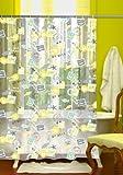 Duschvorhang Briefmarke 180cm breit x 180cm lang transparent/gelb/grün Vinyl + Ringe