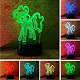 Ganjue 3D My Little Pony Night Light Table Led 7T Colorato   Bambino Baby Table Decor Amico Touch Lampade A Pelo Regali