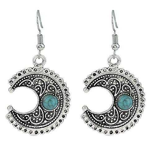 Leisial Retro Ohrringe Damen Mond Ohrringe Lange Ohrhänger mit Anhänger Ohrringe Silber 3.3*3CM
