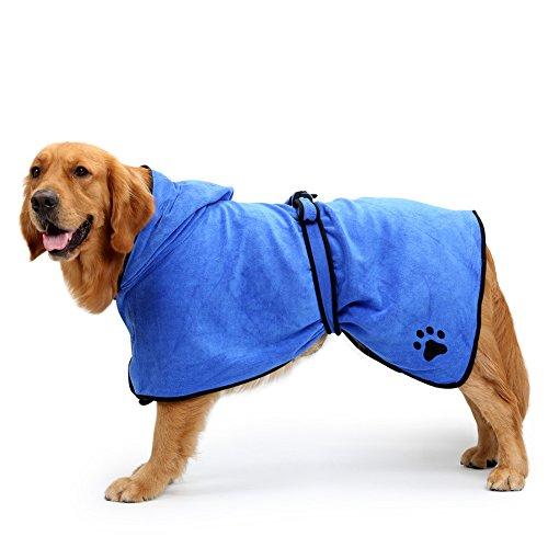 Yunt Badenmantel Hunde Fleece schnelltrocknend verstellbare Bademäntel mit Kaputze für Hautier Hunde Katzen Blau/Braun XS/S/M/L/XL