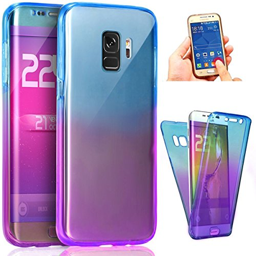 Coque Galaxy S9,Etui Galaxy S9,ikasus Intégral 360 Degres avant + arrière Full Body Protection Couleur de dégradé Transparente Silicone Gel TPU Souple Housse Etui Case Coque pour Galaxy S9,Bleu Violet