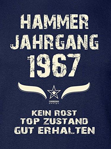 Modisches 50. Jahre Fun T-Shirt zum Männer-Geburtstag Hammer Jahrgang 1967 Farbe: navy-blau Navy-Blau