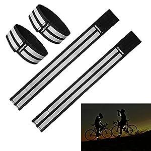Sportsarmband + Knöchel Band Reflektorbänder Sportarmband Reflektor Armbinde Nachtsport Gear für Running Fahrradfahren Reiten Spaziergang Klettern Wandern (Schwarz, 4-Stücke, 25CM+31CM)