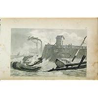 Mare di Dover Inghilterra del Pilastro di Vista dell'Incisione D'acciaio C1850 Vecchio