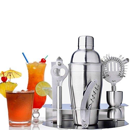 CocktailShaker, Edelstahl Cocktail Set Wodka Shaker für Cocktails 7 Stück 550ml Mit Bar Kit Elegant Silber Mixer für das Geschenk der Mutter und Vatertag