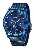Herren Business Uhren Herren Edelstahl Mesh Uhren Wasserdicht Sport Analog Quarzuhr Männer Luxus Mode Armbanduhr Multifunktional Blau Uhren