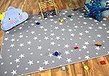 Snapstyle Kinder Spiel Teppich Sterne Grau in 24 Größen