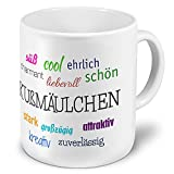 XXL Riesen-Tasse mit Namen Kußmäulchen - Motiv Positive Eigenschaften - Namenstasse, Kaffeebecher, Becher, Mug
