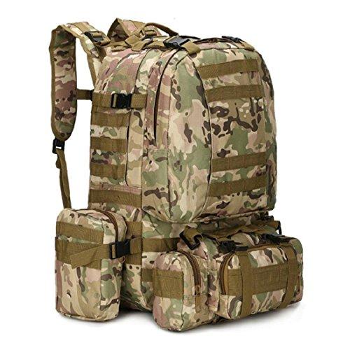 LF&F Backpack Camping outdoor Zaini Borse Viaggio Panno di Oxford Indossabile zaino all'aperto esercito camuffamento montagna scalata impermeabile 33L doppio zaino spalle G 33L A