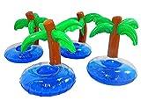 Tinas Collection Getränkehalter Palme 4tlg. Bierdosenhalter im Palmendesign, aufblasbare Insel als Dosenhalter, 4 Inseln als Deko für die nächste Pool Party