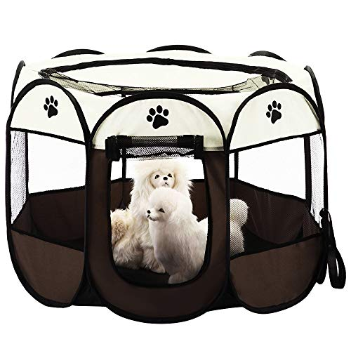 KEESIN Tienda de campaña Plegable para Mascotas con 8 Paneles de Malla...