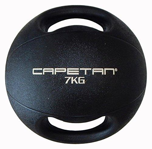 Capetan Professional Line Dual Grip 7 kg Medizinball aus Gummi mit zwei Griffen (auf Wasser schwimmend) – 7 kg Cross Training Medizinball mit Griffen