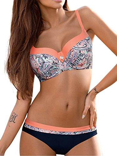 Umipubo costumi da bagno push up imbottito costumi da mare donna due pezzi bikini sexy spiaggia beachwear swimwear (l, arancione)