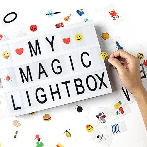 Caja de luz de cine con 170 Letras Cartas, Emojis, Símbolos y Cable USB| DIY A4 LED Light Box| Cartel Luminoso Cinematográfica Ideal para Decoración Vintage en Habitación, Oficina, Bodas, Cumpleaños y Otros Eventos Especiales