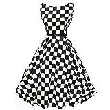 VEMOW Heißer Elegante Damen Mädchen Frauen Vintage Bodycon Sleeveless Beiläufige Abendgesellschaft Tanz Prom Swing Plissee Retro Kleider(X1-Schwarz, EU-42/CN-XXL)