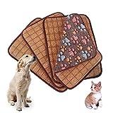 Materassino Idepet doppio uso per cani e gatti, materassino in bambù a dispersione termica per estate e inverno; misure: M, L, XL, XXL, colori: rosa, viola, marrone, moca