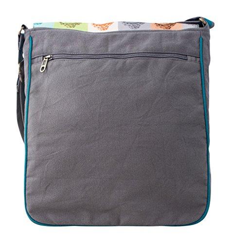 Messenger-Tasche Umhängetasche Baumwolle Buddha Grau
