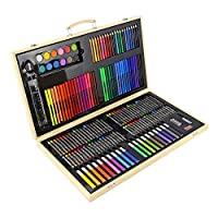 Top Home Solutions® 180pc Wooden Box Artist Set Deluxe Art Oil Pencils Pens Markers Paints Crayons - Perfect for beginners or budding artists Kids Adults
