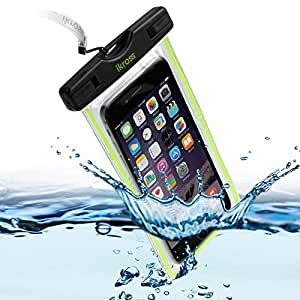 iKross Universal Waterproof, Snowproof, Dirtproof Pouch Carrying Case with Neck Strap / Armband for iPhone 6, 6 Plus, Samsung Galaxy S6, S6 Edge, Note 5, HTC One M9, M8 and More - Black and Green