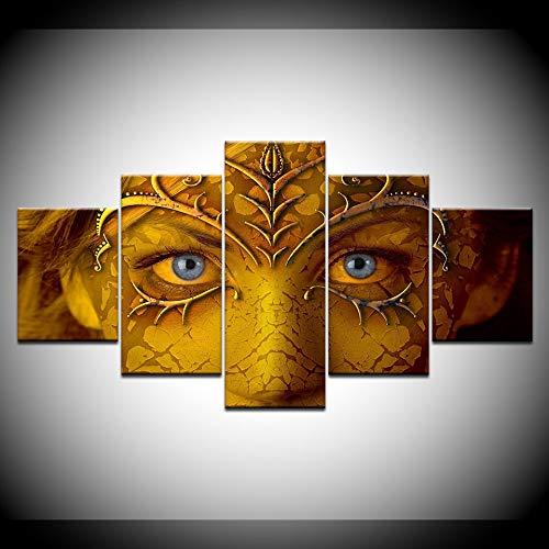 RRFHGH 5 Stücke Leinwand Malerei Modulare Mode Wohnkultur 5 Panel Spiel Charaktere Gesicht Kunst Gemälde Wand 5 Stück Gedruckt Bilder Leinwand Kunstwerk Poster Gerahmte
