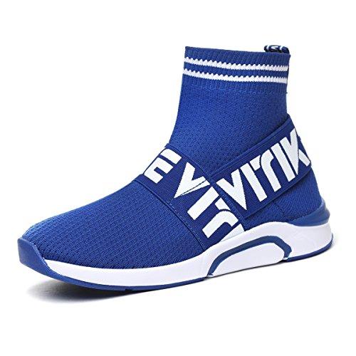 Elaphurus Unisex Kinder Sneaker Walkingschuhe Gymnastikschuhe High Top Atmungsaktive Mesh-Strick Vamp Laufschuhe für Junge Mädchen Damen Blau