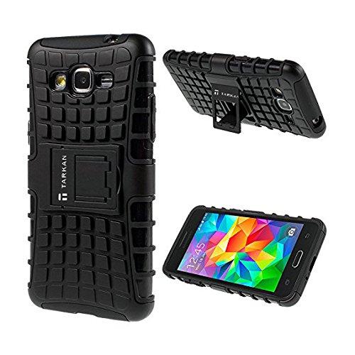 TARKAN Hard Armor Hybrid Rubber Bumper Flip Stand Rugged Back Case Cover For Samsung Galaxy Grand 2 G7106 - BLACK