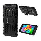 TARKAN Hard Armor Hybrid Rubber Bumper Flip Stand Rugged Back Case Cover For Samsung Galaxy Grand 2 G7106 – BLACK
