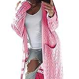 SEWORLD Mantel Cardigan Pullover im Freien Damen Langarm Warmer Einfarbig Beiläufig Pullover Dicker Mantel Sweatshirt für Winter/Herbst/Frühling(Rosa,EU:34-40)