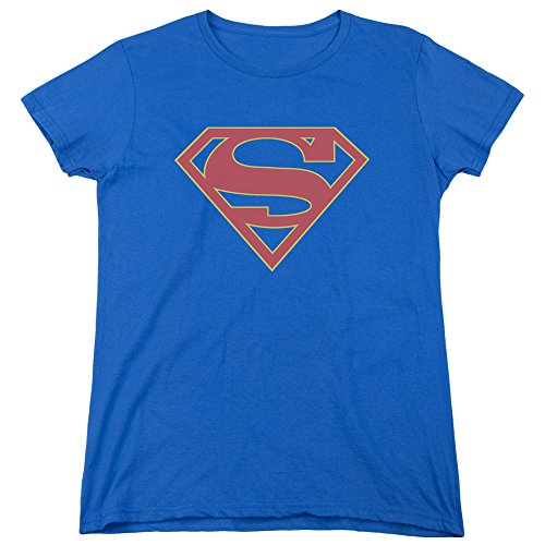 Supergirl Kostüm, Damen Supergirl Logo Blau Kostüm T-Shirt, Medium USA 10 - 14), BÜSTE 38 - 40