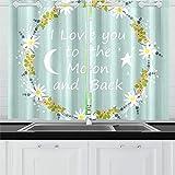ZHANGhome Liebe Dich Mond zurück skandinavischen Stil Küche Vorhänge Fenster Vorhang Stufen für Café, Bad, Wäscheservice, Wohnzimmer Schlafzimmer 26 x 39 Zoll 2 Stück