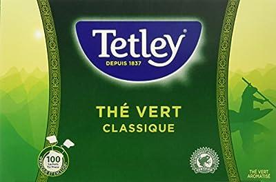 TETLEY Boîte de 100 sachets Tir Press sans Protect Arôme Thé Vert Classique 150 g - Lot de 3