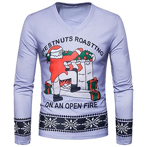 Togelei Männer Weihnachten Tops Männer Herbst Winter Weihnachten Weihnachten PrintingTop Männer Langarm-T-Shirt Bluse Drucken Langarm-Sweatshirt O-Neck Santa Claus Geschenk Mode Sport Tops