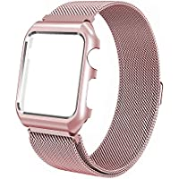 Apple Watch Strap 38mm/42mm Milanese Loop Replacement Strap for iWatch with Protective Case for Apple Watch 38mm Series 3 Series 2 Series 1 Sport Nike+ Edition