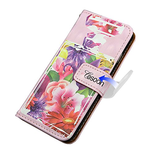 """xhorizon TM Premium PU parfum cuir bouteille fleur motif portefeuille magnétique cas stand flip avec des fentes de cartes pour iPhone 6(4.7"""") #10"""