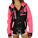 CBKTTRADE Damen College Jacke Old School Jacket Sweat Jacke Fox Hooded (S/M, Boxusa Schwarz Pink)