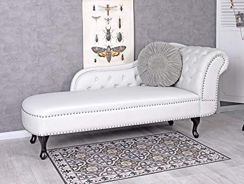 Chesterfield Recamiere Weiss Relaxliege Chaiselongue englisches Sofa Sitzbank Palazzo Exklusiv