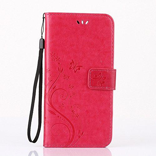 HTC One mini 2 Hülle, HTC One M8 Mini Schutzhülle, Alfort 3 in 1 Lederhülle / handyhüllen Fashion Design Premium PU Leder Hohe Qualität Tasche Case Cover Kasten Abdeckung Wallet für HTC One mini 2 / H Rote