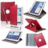 SAVFY Housse Etui Luxe Cuir Rotatif pour Samsung Galaxy Tab 3 10.1' + STYLET + FILM D'ECRAN OFFERTS! - 3en1 Etui de protection Pochette Stand Coque Samsung Galaxy Tab 3 10.1' P5200 / P5210 / P5220 / GT-P5210ZWAXEF Tablet PU Cuir Style avec fonction Support - Housse avec rotation à 360°Multi Angle Samsung Galaxy Tab 3 10.1 Pouces - Rouge