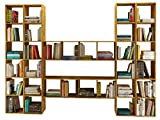 Loft24 Comfort Regal Set Bücherregal Aktenregal Bibliothek Bücherwand Büroregal Eiche Massiv 282 x 30 x 210 cm