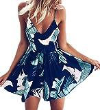 Angashion Jumpsuit Damen Elegant Kurz Playsuit Blumenstickerein ärmellos V-Ausschnitt Overall Romper Jumper Blau XS