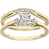Ensemble Bague de fiançailles et alliance Femme - PR08499Y-K -  Or Jaune 375/1000 (9 Cts) 3.1 Gr - Diamant